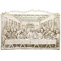 Makes a classic wedding gift. Last Supper Ivory Wall Plaque, Handcrafted outside of Lucca, Italy, deep in the heart of Tuscany, $62.95.