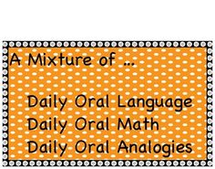 Here is a 20 day sample of our daily oral language, math and analogies ...