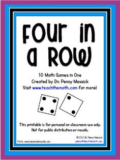 Four In A Row! Playing games during small group math time is a great way to reinforce the skills that are taught during math instruction.