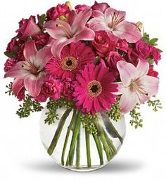 bowl, happy anniversary, pink roses, gerber daisies, pink flowers, mothers day, centerpiec, flower bouquets, floral arrangements