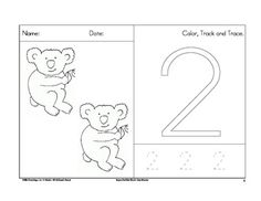 FREE.......Counting worksheets 1 to 10 with a koala theme.  Also included are tracking and tracing practice....