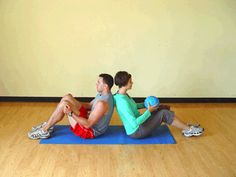 Here's a fun partner exercise you can do with your sweetie (or buddy) to work your abs and core. | via @SparkPeople #fitness #workout workouts with medicine ball, medicine ball exercises, exercise partner, medicine ball partner, exercise with medicine ball, medicin ball