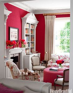 """In a London townhouse, the library is designer Rob Southern's """"nod to English decorating, with vintage floral chintz."""""""