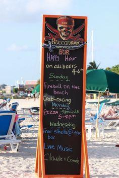 Buccaneer Beach Bar Menu Board  www.thetropicaltravelers.com