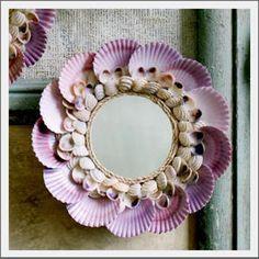 pretty shell craft, scallops, mirrors, shell mirror, seaside, shell fish, scallop shells