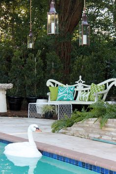 With countless ways to decorate, the Bevolo Pool House lanterns can easily be hung from trees and tents for events like weddings. #lanterns #bevolo pool idea, pool houses, hous lantern, pool parti