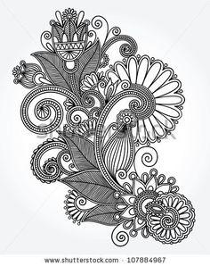 original hand draw line art ornate flower design. Ukrainian traditional style by karakotsya, via ShutterStock