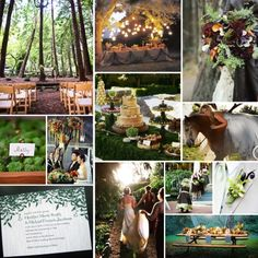 Good choice of chair style and the arrangement is great too; The bouquet to the top right is pretty; The flower arrangements that the couple is standing under are beautiful!; The cake/dessert table is a presentation piece; The invitation is a sort of Enchanted Forest style; The picnic tables are decorated well for picnic tables, if we must go that route.