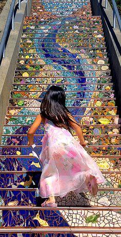 Girl runs up San Francisco's 16th Avenue Tiled Steps by Abe K, via Flickr