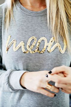 / diy sequin phrase sweatshirt
