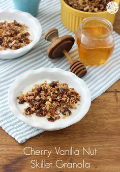 Cherry Vanilla Nut Skillet Granola Recipe from A Kitchen Addiction
