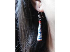 Paper jewelry Upcycled paper bead earrings sunday by Paperica