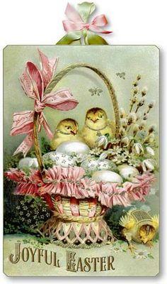 Item 735 Vintage Victorian Style Easter Basket Plaque