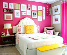 bedroom makeovers, decorating ideas, color patterns, girl bedrooms, pink, big girl rooms, big girls, bright colors, accent walls