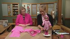 """Author and designer Joan Hinds and Nancy share the secrets to sew a seasonal collection of clothes for 18"""" dolls. Each outfit is sewn with speedy techniques and easy flat construction. Learn to use a variety of fabrics and embellish with ruffles, ribbing, snaps, and trim. Create a raincoat, recital dress, hiking outfit, and a sassy little sundress."""