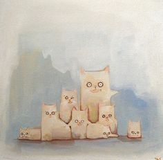 jason edward davis At what amounts of cats does it become a nightmare? acrylic on canvas - jason edward davis available at my etsy shop
