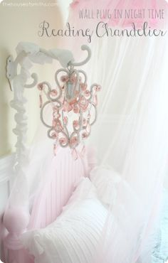 Elegant and Timeless Girly Bedroom Makeover - Mini hanging chandelier for reading, instead of a standard lamp. #girlybedroomelements #princessbedroomdesign #thehouseofsmiths