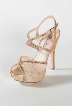 "High heel glitter and lace sandal features:• 4"" heel• 1"" platform • Adjustable ankle strap• Padded insole• Medium width only"