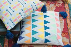 DIY Stencil Floor Pillows