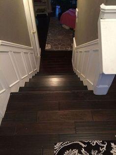 cheap basement flooring, frame mould, cheap wood flooring, basement steps, foyer, picture frames, basement remodel cheap, pictur frame