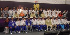 On July 29, President Elbegdorj came to visit the Olympic Village (ctr of the middle row) and posed with the team in the Chef de Mission meeting hall. london olymp, middl row, meet hall, olymp villag, olymp 2012, chef de
