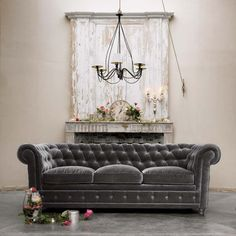 interior design, charcoal, living rooms, couch, fireplac, color, chesterfield, velvet, mantl