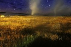 'Old Faithful' geyser in Yellowstone National Park in Wyoming under a beautiful night sky on September 28, 2014. Credit and copyright: astroval1 on Flickr.