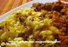 Spätzle  -- Delicious German egg noodles with sautéed onions! http://www.quick-german-recipes.com/german-spaetzle-recipe.html