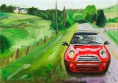 Red MINI Cooper in the Countryside Giclee Print Reproduction