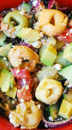 Greek Tortellini Salad with Tomatoes, Avocados, Cucumbers #Mediterranean #pasta_salad #appetizer