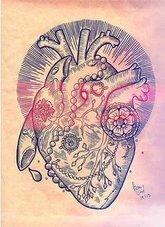 tattoo ideas, tattoo flash, heart art, sleeve, tattoo patterns, flowers, tattoo ink, heart tattoos, heart designs