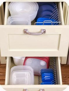 My Tupperware drawer is definitely tidier than it used to be, but I like this lid organizer.