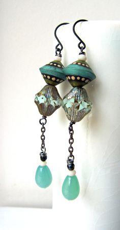 Spinning top  handmade earrings beaded earrings by somethingtodo, £18.50