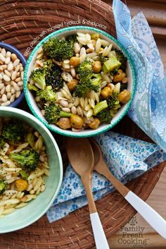 Orzo Pasta with Roasted Broccoli & Chickpeas | Vegan Recipe on FamilyFreshCooking.com