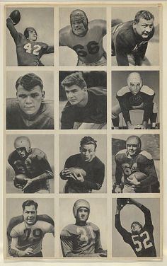 Issued by Bowman Gum Company. Sheet of 12 uncut football cards, from the Bowman Football series (R407-1) issued by Bowman Gum, 1948. The Metropolitan Museum of Art, New York. The Jefferson R. Burdick Collection, Gift of Jefferson R. Burdick (Burdick  327, R407-1.3) #MetGridironGreats