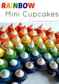 Mini Rainbow Cupcakes   Recipe & Instructions on HoosierHomemade.com Birthday, Food Colors, Saint Patricks Day, Parties, Rainbows Cake, St Patricks Day, Rainbows Cupcakes, Rainbow Cupcakes, Minis Cupcakes