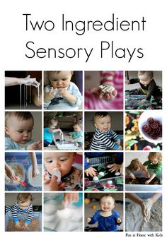 10+ ideas for ALL AGES sensory play using two or fewer ingredients - all of which are commonly found in a home.  No need to run to the grocery store - you probably have the supplies for most of these right now!  From Fun at Home with Kids