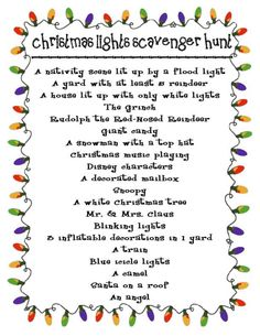 Christmas Lights Scavenger Hunt! We drive around and look at Christmas lights every year. What a great idea to do a scavenger hunt!