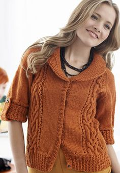 Free Pattern - Patons Classic Wool - Cables and Collar Cardigan (knit)