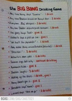 The Big Bang DRINKING Game! lol