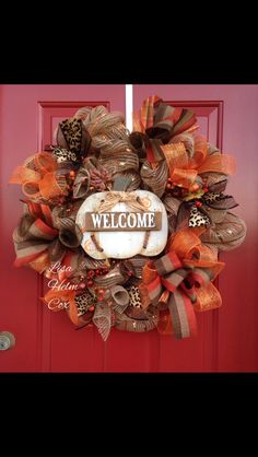 Fall Burlap Wreath with White Pumpkin, $45