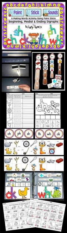 Beginning and ending digraphs Paint Stick Phonics is a fun way to sort digraph sounds. Pages included to sort pics into a notebook as well!