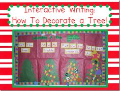 Interactive writing on how to decorate a tree