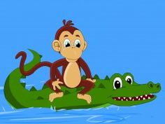 The monkey rides on the crocodile's back - the story of the monkey and the crocodile pictur, monkeys, crocodiles, clever monkey, evil plan, foolish crocodil, short stori, crocodil reveal, kid
