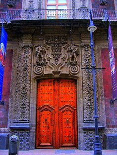 Mexico City. Entrance to an old Spanish Colonial Palace.