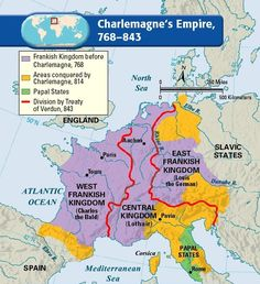 Map of Charlemagne's empire, 768-843. Charlemagne, a.k.a Charles the Great or Charles I, was king of the Franks from 768, king of the Lombards from 774, and was crowned emperor in 800. Charlemagne died in 814 and was succeeded by his only surviving son, Louis I. Louis's death in 840 was followed by civil war between his three sons, which resulted in the split (and the end) of the empire in three parts in 843.