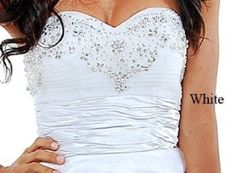 Strapless Beaded Cocktail Formal Prom Dress