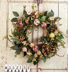 Summer silk wreath Faux Berry