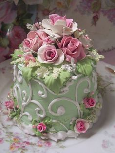 Mint green, pink and white cake
