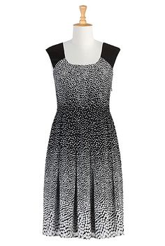 eShakti Pleated dot print dress